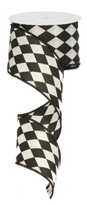 "2.5"" Black and White Harlequin Ribbon - Designer DIY"