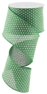 "2.5"" Emerald Green Swiss Dot Ribbon - Designer DIY"