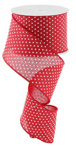 "2.5"" Red with White Dots Ribbon - Designer DIY"