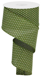 "2.5"" Moss Green Swiss Dot Ribbon - Designer DIY"
