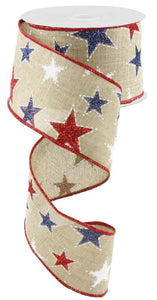 "2.5"" Natural with Red White Navy Glitter Stars Ribbon - Designer DIY"
