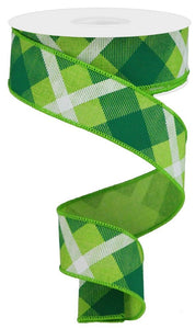 "1.5"" Lime & Emerald Plaid Ribbon - Designer DIY"