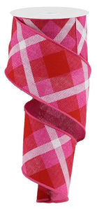 "2.5"" Pink & Red Plaid Ribbon - Designer DIY"