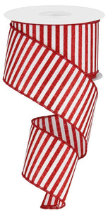"2.5"" White with Red Glitter Stripes Ribbon - Designer DIY"