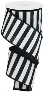 "2.5"" Black & White Stripe Ribbon - Designer DIY"