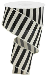 "2.5"" Black & Cream Stripe Ribbon - Designer DIY"