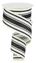 "Load image into Gallery viewer, 2.5"" Black and Ivory Stripe Ribbon - Designer DIY"