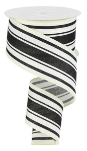 "2.5"" Black and Ivory Stripe Ribbon - Designer DIY"