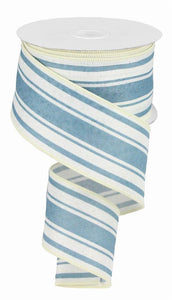 "2.5"" Ivory and Blue Stripe Ribbon - Designer DIY"