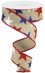 "1.5"" Natural Patriotic Glitter Star Ribbon - Designer DIY"