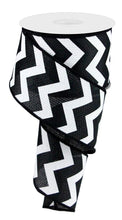 "Load image into Gallery viewer, 2.5"" Black and White Chevron Ribbon - Designer DIY"