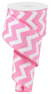 "2.5"" Pink Chevron Ribbon - Designer DIY"