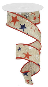 "1.5"" Natural Patriotic Star Ribbon - Designer DIY"
