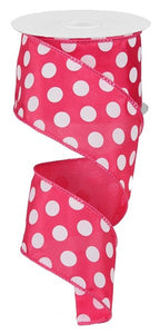 "2.5"" Pink Polka Dot Wired Ribbon - Designer DIY"