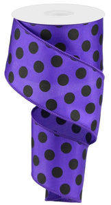"2.5"" Purple with Black Polka Dots Ribbon - Designer DIY"