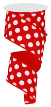 "Load image into Gallery viewer, 2.5"" Red with White Polka Dot Ribbon - Designer DIY"