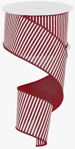 "2.5"" Dark Red & White Stripe Ribbon - Designer DIY"