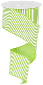"2.5"" Lime Green & White Stripe Ribbon - Designer DIY"