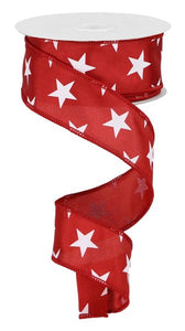 "1.5"" Crimson & White Star Ribbon - Designer DIY"