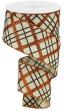 "Load image into Gallery viewer, 2.5"" Brown & Copper Glitter Plaid Ribbon - Designer DIY"