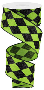 "2"" Lime Green with Black Glitter Harlequin Ribbon - Designer DIY"