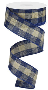 "1.5"" Blue & Natural Check Ribbon - Designer DIY"