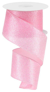 "2.5"" Light Pink Iridescent Glitter Ribbon - Designer DIY"