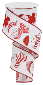 "2.5"" Red & White Snowman Ribbon - Designer DIY"