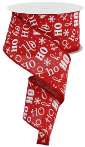 "2.5"" Christmas HO HO HO Ribbon - Designer DIY"
