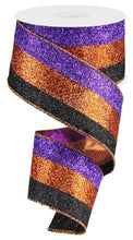 "Load image into Gallery viewer, 2.5"" Halloween Glitter Stripe Ribbon - Designer DIY"