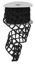 "Load image into Gallery viewer, 2.5"" Black Open Weave Ribbon - Designer DIY"