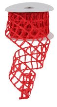 "Load image into Gallery viewer, 2.5"" Red Open Weave Ribbon - Designer DIY"