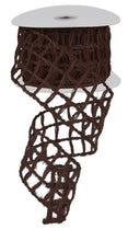 "Load image into Gallery viewer, 2.5"" Brown Open Weave Ribbon - Designer DIY"