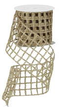 "Load image into Gallery viewer, 4"" Tan & Gold Open Weave Ribbon - Designer DIY"