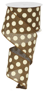 "2.5"" Brown with Cream Dot Ribbon - Designer DIY"