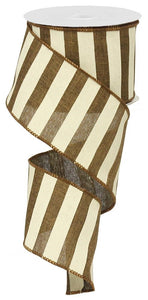"2.5"" Brown & Cream Striped Ribbon - Designer DIY"