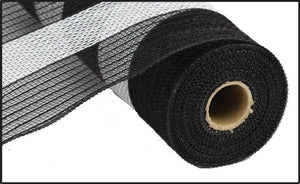 "10.5"" Black Jute and Cotton Striped Mesh - Designer DIY"