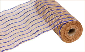 "10.5"" Natural with Royal Blue Striped Mesh - Designer DIY"
