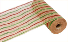 "Load image into Gallery viewer, 10.5"" Red Lime and Natural Striped Mesh - Designer DIY"