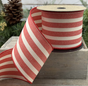 "4"" Red & Cream Stripe DESIGNER Ribbon - Designer DIY"