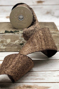 "2.5"" Chocolate Brown Glitter DESIGNER Ribbon - Designer DIY"