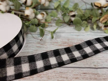 "Load image into Gallery viewer, 2.5"" Black and White Buffalo Plaid Check Ribbon - 50 yards"