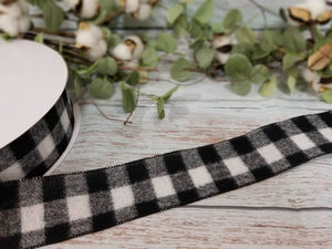 "2.5"" Black and White Buffalo Plaid Check Ribbon - 50 yards"