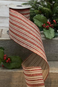 "4"" Red & White Natural Stripe DESIGNER Ribbon - Designer DIY"