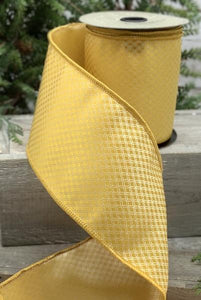 "4"" Yellow Jacquard DESIGNER Ribbon - 5 yards - Designer DIY"