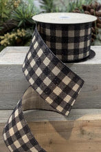 "Load image into Gallery viewer, 2.5"" Black Glitter Buffalo Plaid DESIGNER Ribbon - Designer DIY"