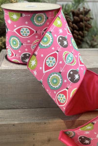 "4"" Pink Ornament DESIGNER Ribbon - Designer DIY"