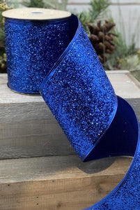 "4"" Royal Blue Glitter DESIGNER Ribbon - Designer DIY"