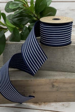 "Load image into Gallery viewer, 2.5"" Navy with Thin White Stripes DESIGNER Ribbon - Designer DIY"