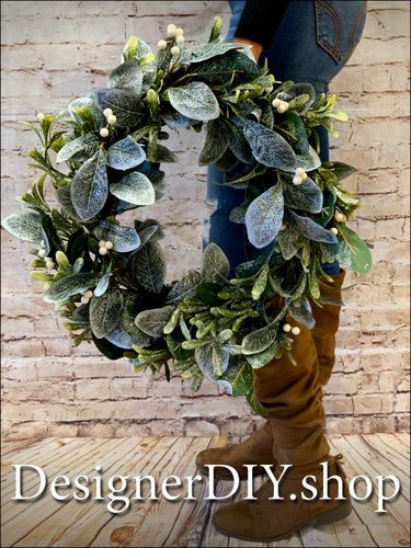 Frosted Greenery Wreath - Designer DIY